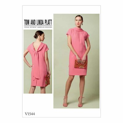 Vogue Sewing Pattern V1544 Misses' Lined Shift Dress with Back Drop-Collar and Tie