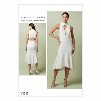 Vogue Sewing Pattern V1545 Misses' Lined Flounced Dress with Banded Neck and Deep-V Front