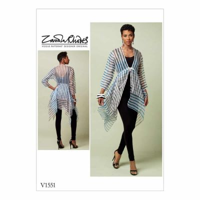 Vogue Sewing Pattern V1551 Misses' Tie-Front Cover-Up with Peplum-Style Tiers