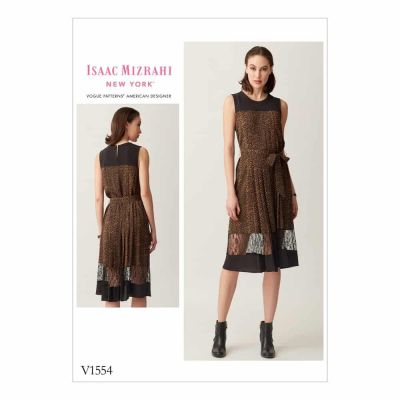 Vogue Sewing Pattern V1554 Misses' Pleated, Sleeveless Dress with Yoke and Bands