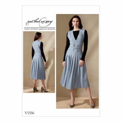 Vogue Sewing Pattern V1556 Misses' Sleeveless Surplice and Pleated Dress with Wide Belt