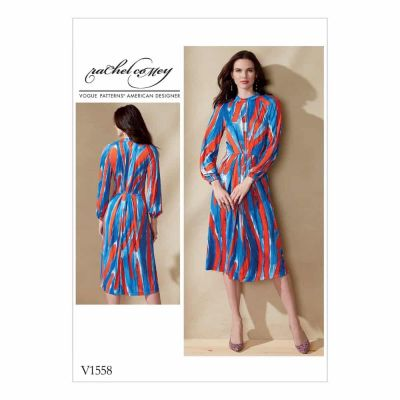 Vogue Sewing Pattern V1558 Misses' Raglan-Sleeve, Pleated Dress