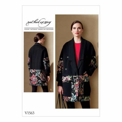 Vogue Sewing Pattern V1563 Misses' Loose Jacket with Contrast Detail and Welt Pockets