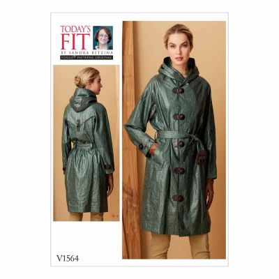 Vogue Sewing Pattern V1564 Misses' Raincoat with Hood and Belt