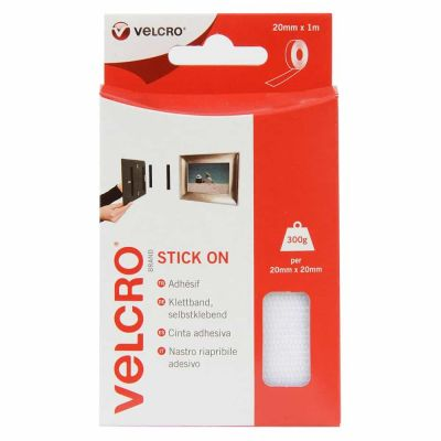 Velcro Hook & Loop Tape: Stick-On: 1m x 20mm White