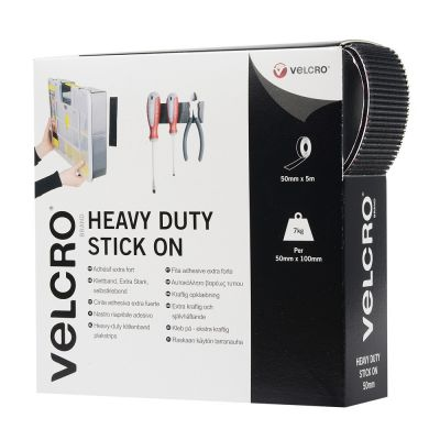 VELCRO® brand Hook & Loop Tape: Heavy Duty Stick On 50mm Black - 5m Roll