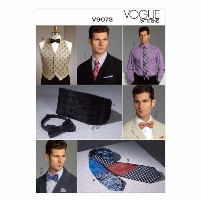 Vogue Sewing Pattern V9073 Men's Vest, Cummerbund, Pocket Square and Ties