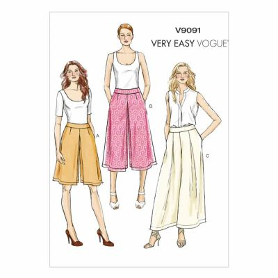 Vogue Sewing Pattern V9091 Misses' Culottes and Pants