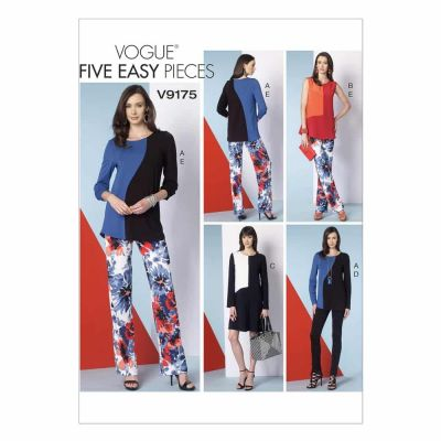 Vogue Sewing Pattern V9175 Misses' Asymmetrical Seam-Detail Tops, Dress and Pants