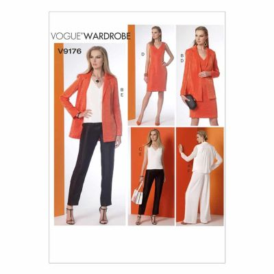 Vogue Sewing Pattern V9176 Misses' Notch-Collar Back-Pleat Jacket, Top, Dress and Pants