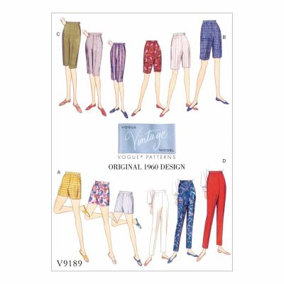 Vogue Sewing Pattern V9189 Misses' Shorts and Tapered Pants
