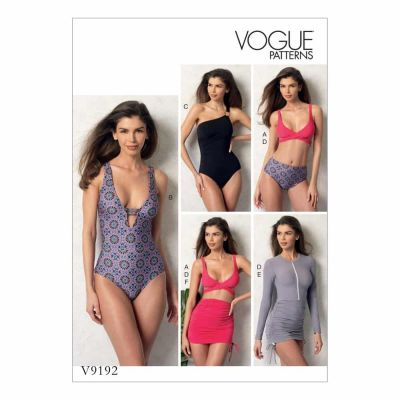 Vogue Sewing Pattern V9192 Misses' Wrap-Top Bikini, One-Piece Swimsuits, and Cover-Ups