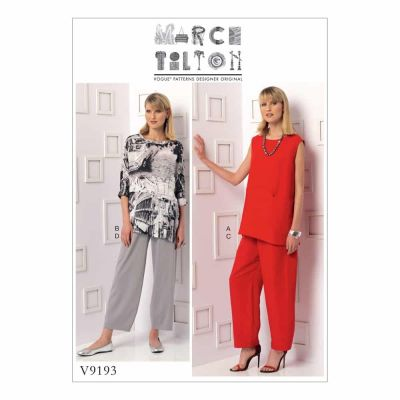 Vogue Sewing Pattern V9193 Misses' Sleeveless or Dolman Sleeve Tunics, and Pants with Yoke