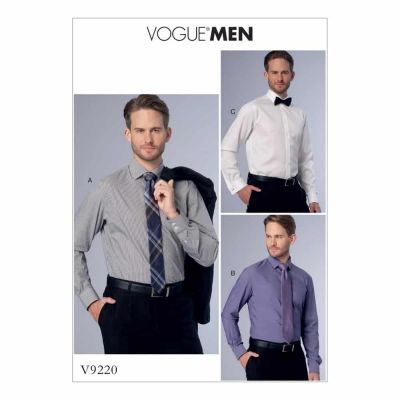 Vogue Sewing Pattern V9220 Men's Standard, Tailored, or Slim Fit Button-Down Shirts