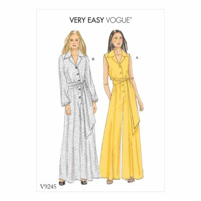 Vogue Sewing Pattern V9245 Misses'/Misses' Petite Button-Up Jumpsuits and Sash