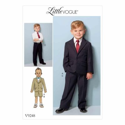 Vogue Sewing Pattern V9248 Children's/Boys' Two-Button Jacket, and Flat-Front Shorts and Pants