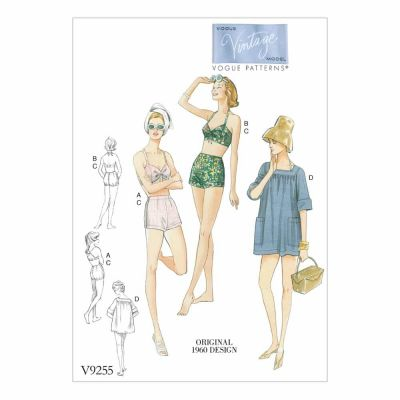 Vogue Sewing Pattern V9255 Misses' Lined Halter Bra and Shorts, and Square-Neck Coverup with Pockets