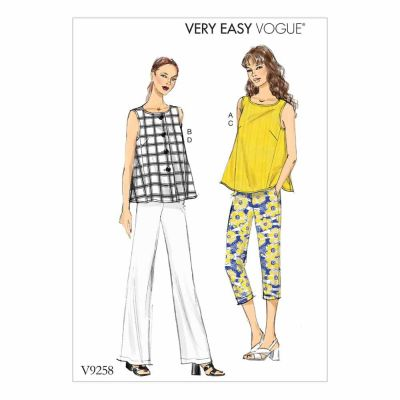Vogue Sewing Pattern V9258 Misses' Sleeveless Tops with Pull-On Pants