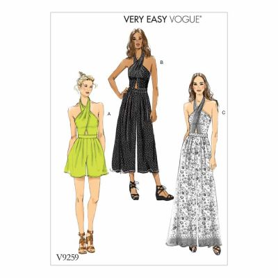 Vogue Sewing Pattern V9259 Misses' Criss-Cross Halter Romper and Jumpsuit with Length Variations