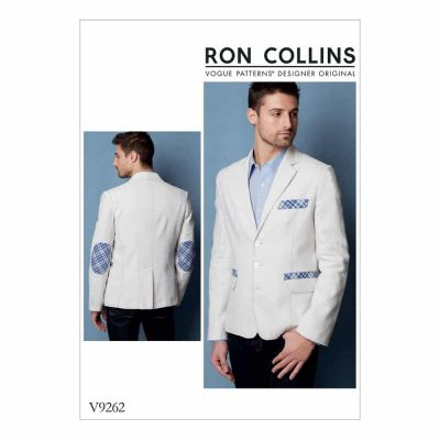 Vogue Sewing Pattern V9262 Men's Lined Jacket with Contrast Top Stitching and Elbow Patches