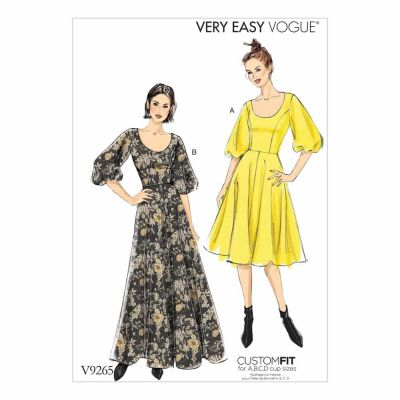 Vogue Sewing Pattern V9265 Misses' Princess-Seam, Flare Dresses with Poof Sleeves