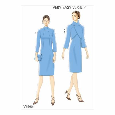 Vogue Sewing Pattern V9266 Misses' Lined Raglan-Sleeve Jacket and Funnel-Neck Dress