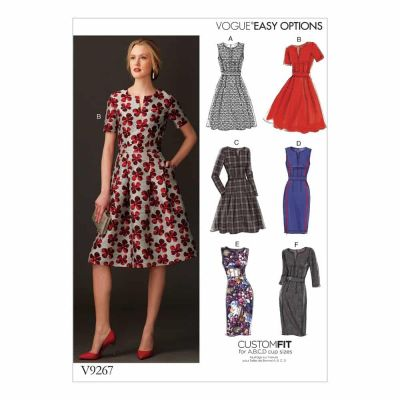Vogue Sewing Pattern V9267 Misses' Fit-And-Flare Dresses with Waistband and Pockets