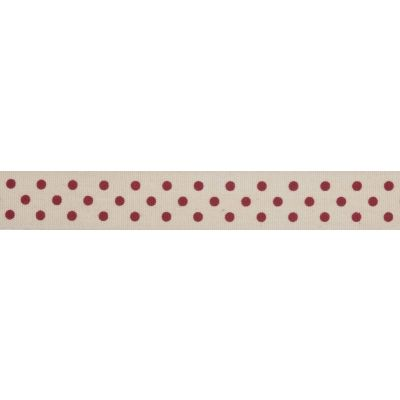 15mm Red Spots Cotton Ribbon 5m Reel
