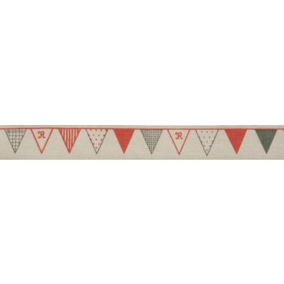 15mm Red & Green Bunting Cotton Ribbon 5m Reel