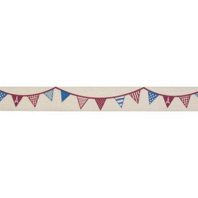 15mm Red & Denim Blue Bunting Cotton Ribbon 5m Reel