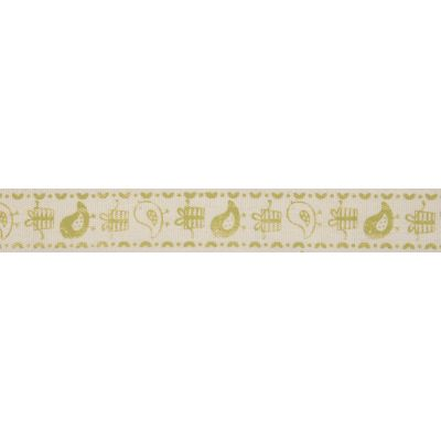 15mm Lime Green Birds & Gifts Cotton Ribbon 5m Reel