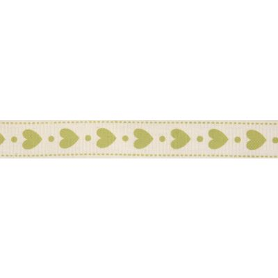 15mm Lime Green Hearts Cotton Ribbon 5m Reel