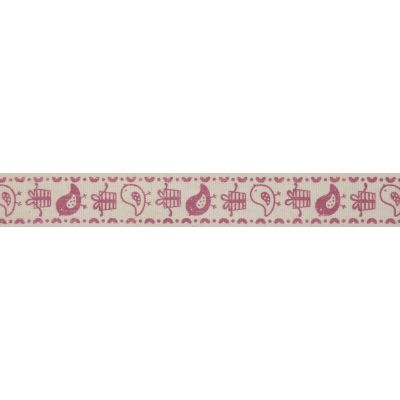 15mm Pink Birds & Gifts Cotton Ribbon 5m Reel