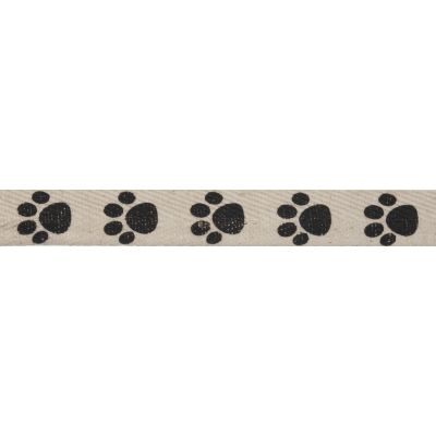 15mm Paw Prints Herringbone Cotton Ribbon 5m Reel