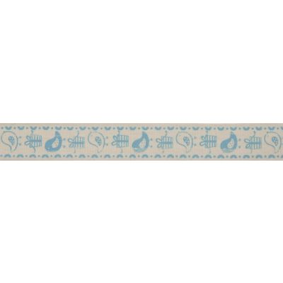 15mm Blue Birds & Gifts Cotton Ribbon 5m Reel
