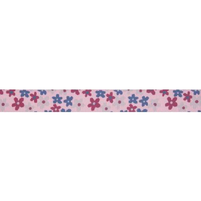 15mm Light Pink Flowers Grosgrain Ribbon 5m Reel