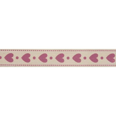 15mm Pink Hearts Cotton Ribbon 5m Reel