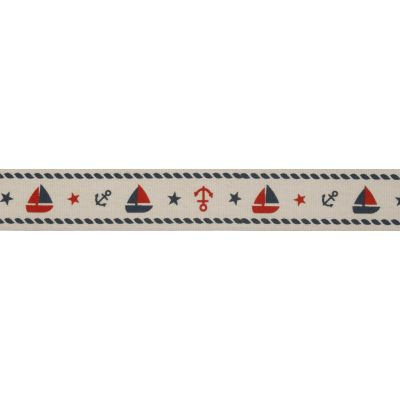 20mm Nautical Red & Navy Cotton Ribbon 5m Reel