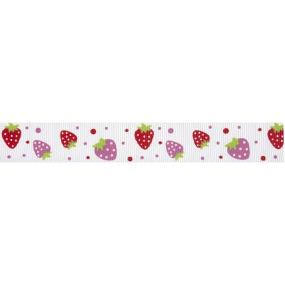 20mm Strawberries White Grosgrain Ribbon 5m Reel
