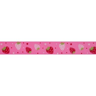 20mm Strawberries Pink Grosgrain Ribbon 5m Reel
