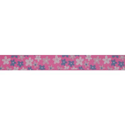 15mm Pink Flowers Grosgrain Ribbon 5m Reel