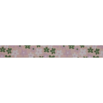 15mm Pink & Green Flowers Grosgrain Ribbon 5m Reel