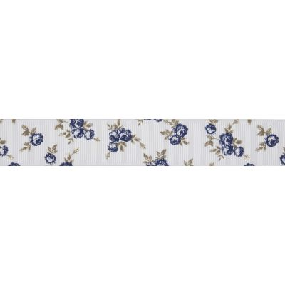 22mm Navy Rose White Grosgrain Ribbon 5m Reel