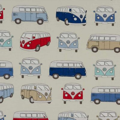 VW Campervans - Blue - Curtain Fabric