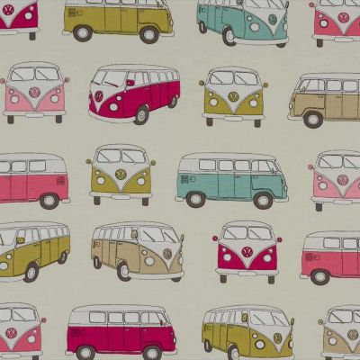 Laminated Cotton - VW Camper - Pink