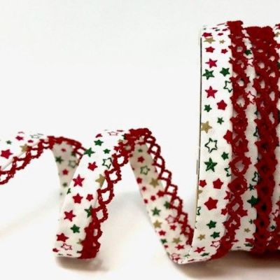 Byesta Fany Lace Edge Stars On White Christmas Bias Binding - 12mm Wide