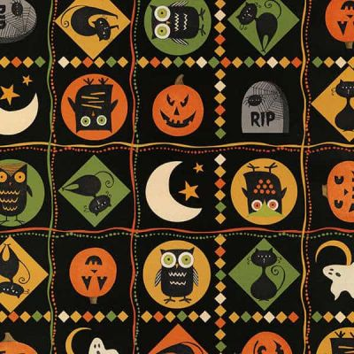 Remnant - Wilmington Prints - Scaredy Cats Multi Patches - 25 x 110cm