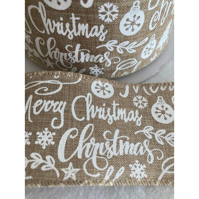 Remnant - Wire Edged Christmas Ribbon - White Christmas icons On Hessian - 60mm Wide - 2m LENGTH