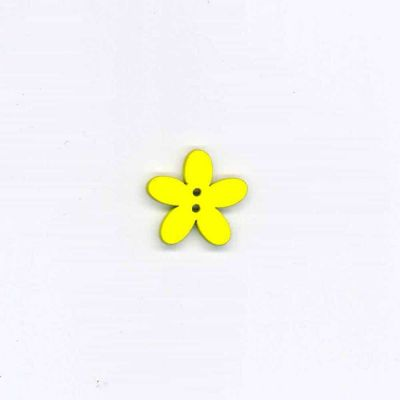Wooden Daisy Button 22mm - Yellow