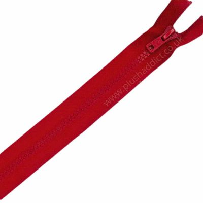 """Remnant - 33cm/13"""" Chunky Plastic Zip -Red - Open Ended - Rough Finish at bottom opening"""